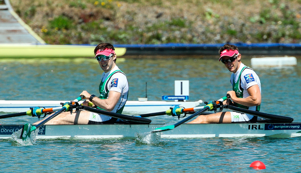 28 May 2017; Paul O'Donovan, left, and Gary O'Donovan of Ireland after finishing second in the Lightweight Men's Double Sculls Final during the European Rowing Championships at Racice in the Czech Republic. Photo by Sportsfile