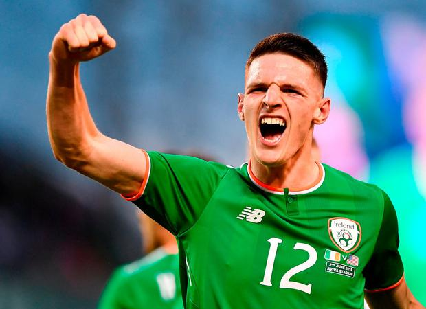 Declan Rice of Republic of Ireland celebrates his side's first goal scored by Graham Burke during the International Friendly match between Republic of Ireland and the United States at the Aviva Stadium in Dublin.Photo by Seb Daly/Sportsfile