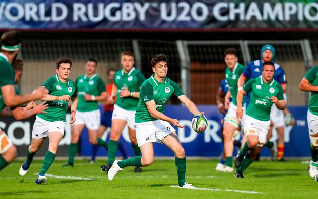 Harry Byrne of Ireland during the World Rugby U20 Championship 2018 Pool C match between France and Ireland at the Stade Aime Giral in Perpignan, France. Photo by Willy Mellet/Sportsfile