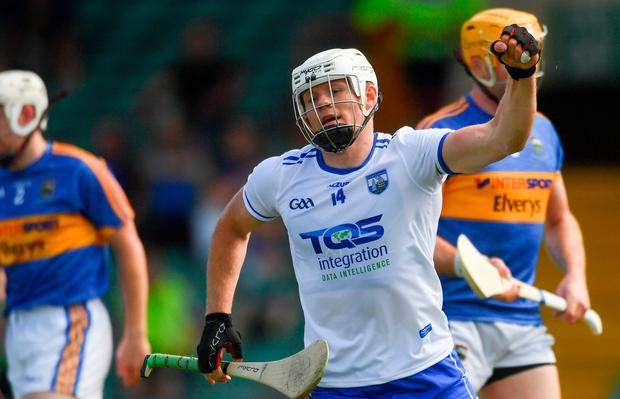 Tom Devine of Waterford celebrates scoring his side's first goal during the Munster GAA Senior Hurling Championship Round 3 match between Waterford and Tipperary at the Gaelic Grounds in Limerick. Photo by Piaras Ó Mídheach/Sportsfile