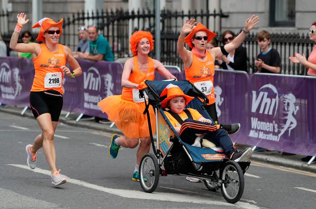 Participants at the start of the race as tens of thousands of women take to the streets of Dublin to take part in the 10 kilometre VHI Women's Mini Marathon Photo: Brian Lawless/PA Wire