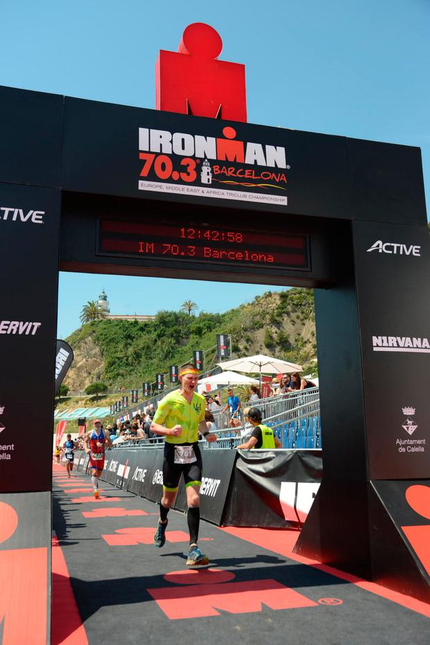 JD Flynn completing the Ironman in Barcelona