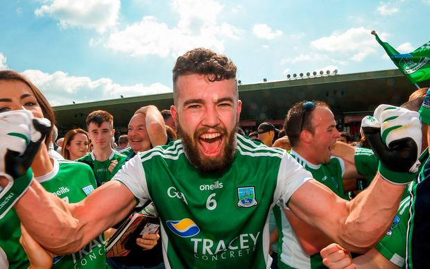 James McMahon celebrates at the final whistle of the Ulster GAA Football Senior Championship Semi-Final match between Fermanagh and Monaghan at Healy Park in Omagh, Co Tyrone. Photo by Philip Fitzpatrick/Sportsfile
