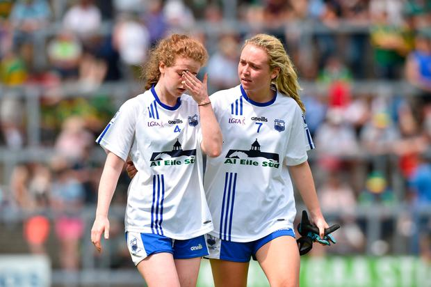 Kate McGrath and Megan Dunford of Waterford after the TG4 Munster Senior Ladies Football Championship semi-final match between Kerry and Waterford at Fitzgerald Stadium in Killarney, Kerry. Photo: Sportsfile