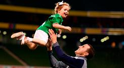 Ireland's John O'Shea with his daughter Ruby after the international friendly against the United States at the weekend. Photo: Stephen McCarthy/Sportsfile