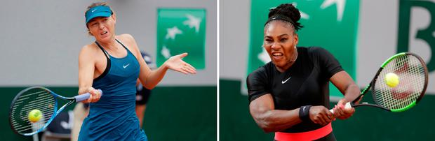 Maria Sharapova (left) and Serena Williams in action earlier during the competition at Roland Garros