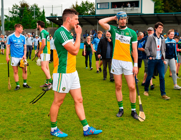 Offaly pair David King (left) and James Gorman after their side's loss to Dublin. Photo: Sportsfile