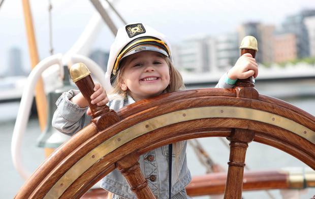 Molly Fagan (5), from Drimnagh, Dublin, at the Tall Ships Regatta at Sir John Rogerson's Quay. Photo: Conor McCabe