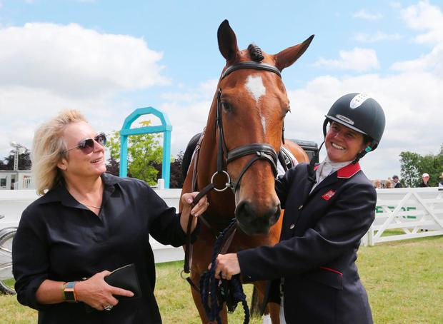 Jennifer Saunders with Cooley Monsoon and rider Piggy French at Tattersalls. Photo: Lorraine O'Sullivan