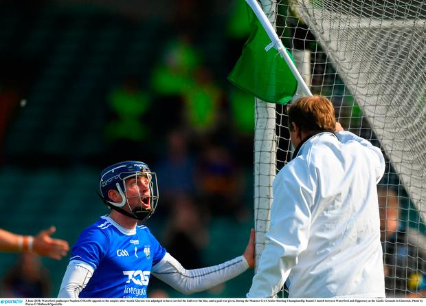 Waterford's Stephen O'Keeffe remonstrates with the umpire. Photo: Sportsfile