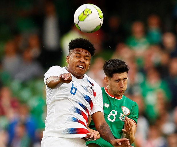 USA's Weston McKennie rises for the ball with Ireland's Callum O'Dowda. Photo: Reuters