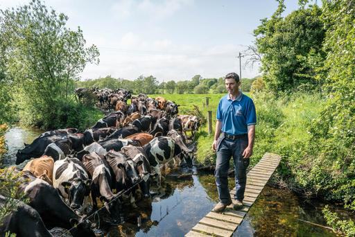 Dairy Farmer Sean O'Donnell on his farm at Behy Beg, Ballina, Co. Mayo. Photo : Keith Heneghan