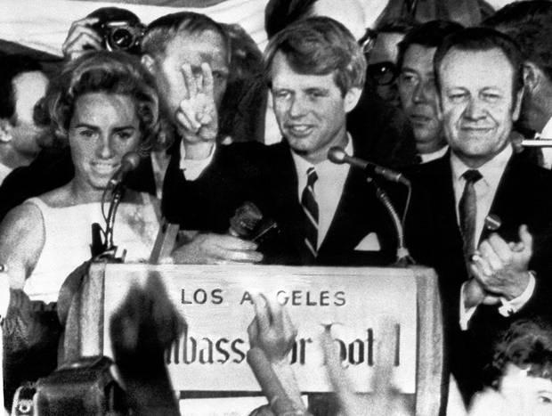 Sen. Robert Kennedy addresses the crowd from stage of Ambassador Hotel in LA moments before his assassination. Photo: Getty