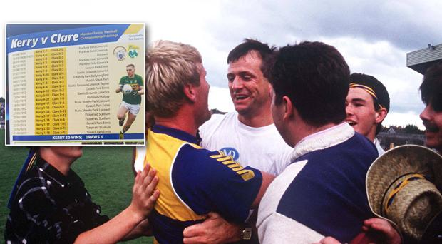 John Maughan, Clare Manager celebrates with Frankie Griffin after victory over Kerry in 1992 and (inset) the programme from yesterday's Munster semi