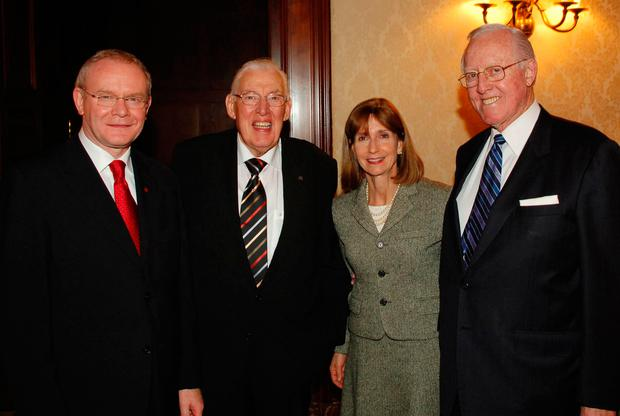 Bill Flynn (right) with Martin McGuinness, Ian Paisley and Paula Dobriansky at an event in New York Photo: John Harrison/PA Wire