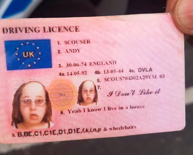 A Little Britain-themed ID card which was brandished at the Three Valleys Beer Festival in Derbyshire Photo credit: Derbyshire Constabulary/PA Wire