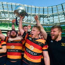 6 May 2018: Lansdowne players celebrate with the cup following the Ulster Bank League Division 1 Final match between Lansdowne and Cork Constitution at the Aviva Stadium in Dublin. Photo by David Fitzgerald/Sportsfile