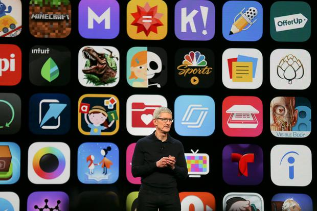 Apple Chief Executive Officer Tim Cook speaks at the Apple Worldwide Developer conference in San Jose, California Photo: REUTERS/Elijah Nouvelage