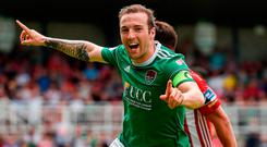 Karl Sheppard celebrates after scoring for Cork City at Turner's Cross. Photo by Eóin Noonan/Sportsfile