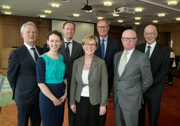 Ms Doherty at the event with, from left to right, Gerry Kiely, head of EU Republic of Ireland; Marie Sherlock of Siptu; Barry Andrews, director general of the IIEA; Joost Korte of the EU Commission; Dan O'Brien, chief economist with the IIEA; and Tony Donohoe of Ibec. Photo: Fennells