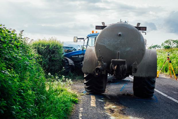 The scene near Buttevant as one Man was pronounced dead and two teens in serious condition after crash between van and tractor in Co Cork Pic. Brian Arthur