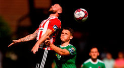 Rory Patterson of Derry City in action against Sean McLoughlin of Cork City. Photo by Eóin Noonan/Sportsfile