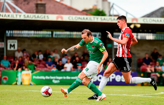 Karl Sheppard of Cork City scores his side's second goal. Photo by Eóin Noonan/Sportsfile