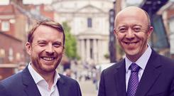 Version 1 CEO Tom O'Connor, right, pictured with director of Cedar Consulting Simon Wragg in London following confirmation of the acquisition deal