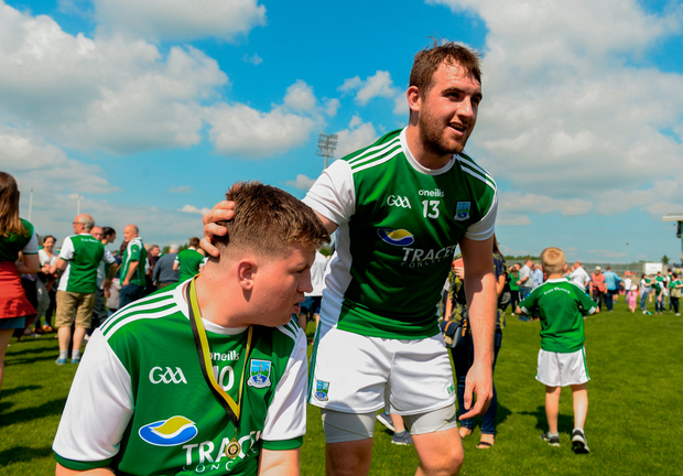 Sean Quigley of Fermanagh with supporter Lochlann Drumm from Kinawley