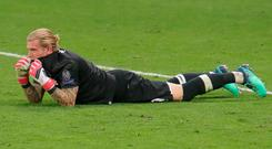 Liverpool's goalkeeper Loris Karius reacts after conceding a third goal to Real Madrid during the Champions League final. Photo: Alexander Hassenstein - UEFA/UEFA via Getty Images