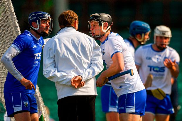 Waterford's Stephen O'Keeffe and Philip Mahony appeal to the umpire after Austin Gleeson was adjudged to have carried the ball over the line, and a goal was given to Tipperary during last weekend's Munster Senior Hurling Championship Round 3 match. Photo: Piaras Ó Mídheach/Sportsfile