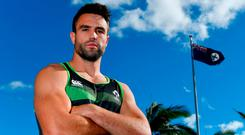 Conor Murray poses for a photograph outside the Ireland team hotel at Royal Pines Resort in Queensland. Photo: Brendan Moran/Sportsfile