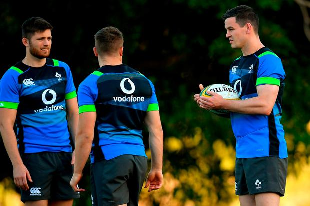 Jonathan Sexton, right, with team-mates Ross Byrne, left, and Jordan Larmour, during Ireland rugby squad training at Royal Pines Resort in Queensland, Australia. Photo: Brendan Moran/Sportsfile