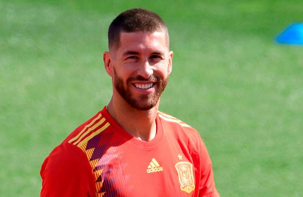 Sergio Ramos is all smiles during training with Spain yesterday in Madrid as they prepare for the World Cup. Photo: AFP/Getty Images