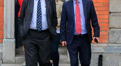 Michael McDowell and Maurice McCabe at the Disclosures Tribunal in Dublin Castle, Dublin. Photos: Gareth Chaney/Collins