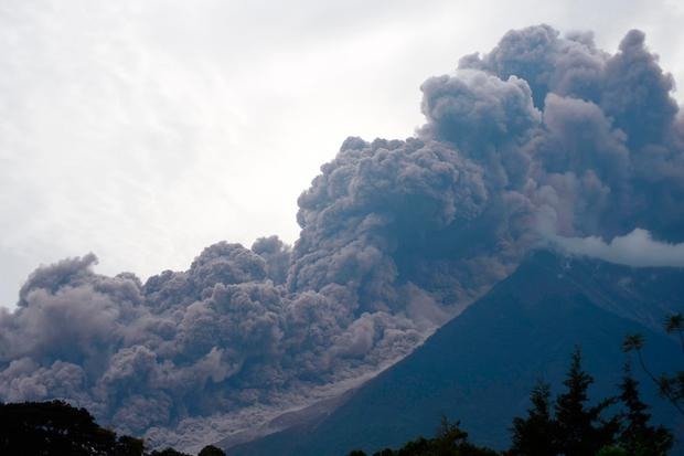 The Fuego Volcano in eruption, seen from Alotenango municipality, Sacatepequez department, about 65 km southwest of Guatemala City. Photo: AFP/Getty Images