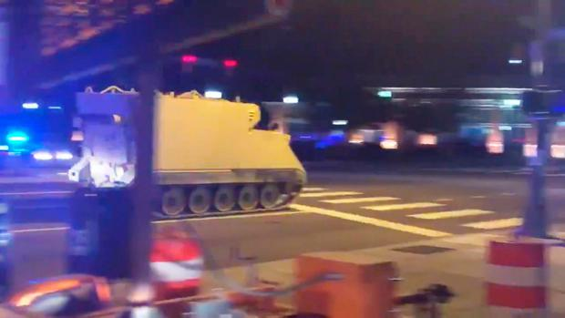 An armoured personnel carrier (APC), which was purpotedly stolen, drives along a street in Richmond, Virginia, U.S. June 5, 2018, in this still image taken from a video obtained from social media. . Parker Slaybaugh/via REUTERS