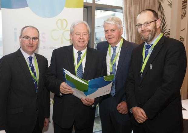 Eamonn Farrell ICOS; Martin Keane ICOS President; Patsy Ahern, Glanbia and TJ Flanagan, ICOS Chief Executive at the ICOS agm in Portlaoise. Picture: Alf Harvey. No reproduction fee