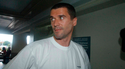 24 May 2002; The former Republic of Ireland captain Roy Keane prior to his departure from Saipan International Airport. Picture credit; David Maher / SPORTSILE *EDI*