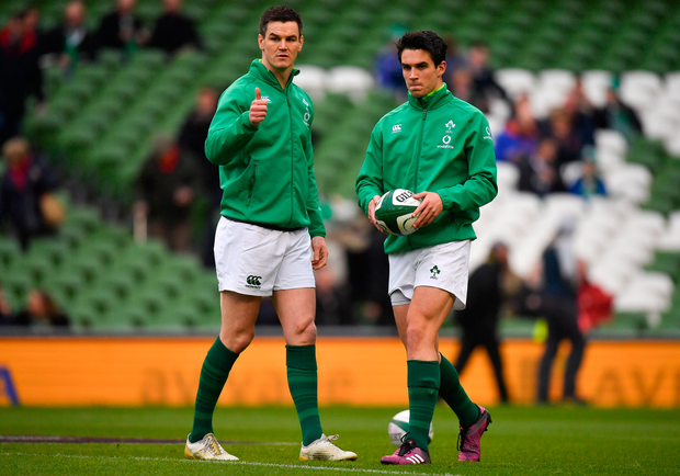 Johnny Sexton, left, and Joey Carbery of Ireland
