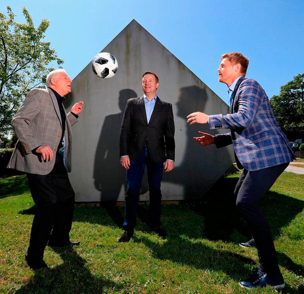 Eamon Dunphy, Damien Duff and presenter Darragh Maloney at RTE's World Cup launch. Photo: Donall Farmer