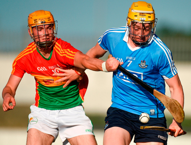 Dublin's Daire Gray in action against Carlow's Cathal Tracey. Photo: Matt Browne/Sportsfile