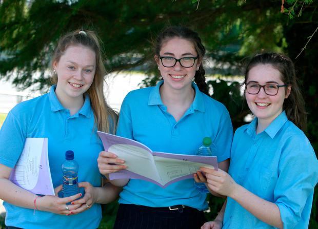 Junior Cert students from St Brigid's College, Co Galway, Rachel Nevin, Caoimhe Gilligan and Elaine Harverty. Photo: Hany Marzouk