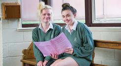 Leaving Cert students Rachel O'Sullivan and Ciara McGann after sitting English Paper 1 at Presentation Secondary School, Ballyphehane. Photo: Daragh Mc Sweeney/Provision