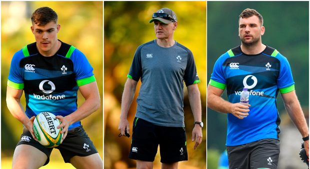 Garry Ringrose (left), Joe Schmidt (centre) and Tadhg Beirne (right).