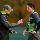 14 November 2017; Joey Carbery with head coach Joe Schmidt during Ireland rugby squad training at Carton House, in Maynooth, Kildare. Photo by Matt Browne/Sportsfile