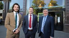Gavin Annon, Head of Sales and Marketing, Mount Charles with Brian Lee, co-founder and CEO of Freshly Chopped and Mount Charles founder and Chaiman, Trevor Annon outside Mount Charles' first Freshly Chopped restaurant in Donegall Square West, which will open in August 2018.