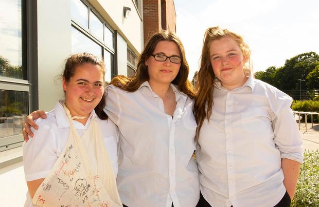 Edel Bridson Glynn, Chloe Cullen and Erin Codd at Coláiste Abbáin, Adamstown, Co Wexford. Photo: Mary Browne