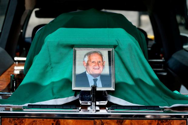 The Irish Tricolour covers the coffin of Seán Calleary. Photo: Steve Humphreys
