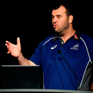 Australia head coach Michael Cheika speaks with the assembled crowd at Kelvin Grove State High School in Brisbane. Photo: Brendan Moran/Sportsfile